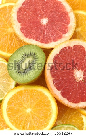 Close up sliced citrus collection - stock photo