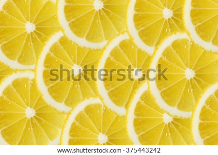 Close Up Sliced Yellow Lemon Background Texture