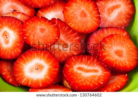 close up slices of strawberries - stock photo