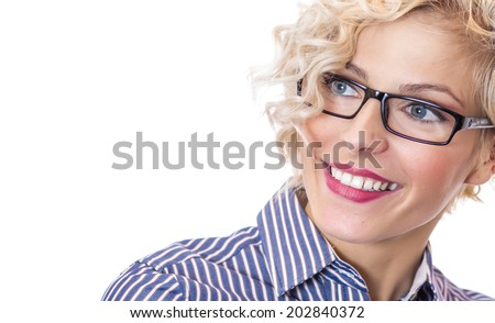 Close-up smile happy young woman ,isolated on white background. Head shot of businesswoman wearing eyeglasses - stock photo