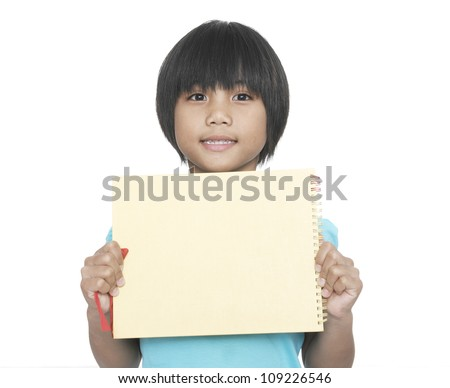 Close up-Smiling little girl holding empty green board - stock photo