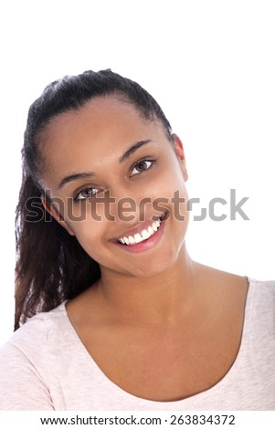 Close up Smiling Pretty Asian Indian Young Woman Looking at the Camera, Isolated on White Background - stock photo