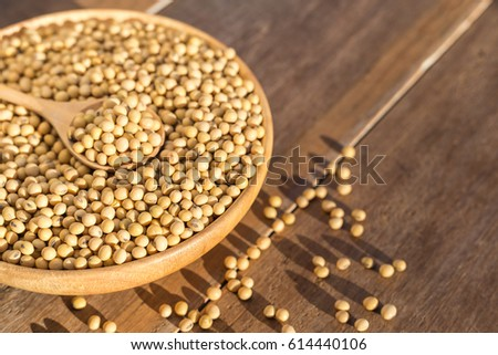 Close up soybean in bowl on wooden table background.