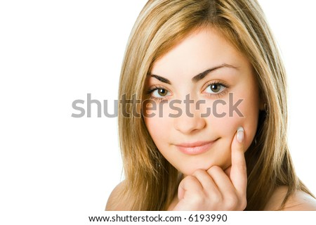 close-up spa girl portrait hold finger cheek over white background - stock photo
