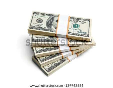 Close-up stacks of dollars isolated on white background  - stock photo