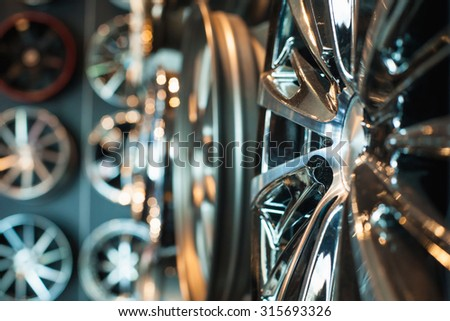 close-up steel alloy car discs - stock photo
