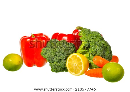 Close up still life with mixed vegetables, isolated on white background - stock photo