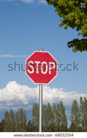 Close-up stop sign - stock photo