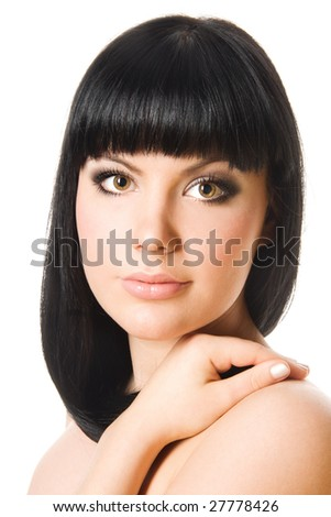 Close-up studio portrait of a beautiful young sexy woman, isolated on white background