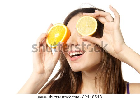 close up studio portrait of young beautiful emotional woman with citrus eyes isolated against white background - stock photo