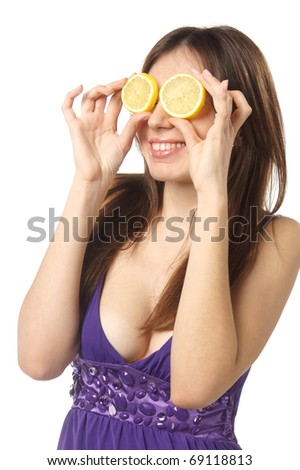 close up studio portrait of young beautiful emotional woman with lemon eyes isolated against white background - stock photo