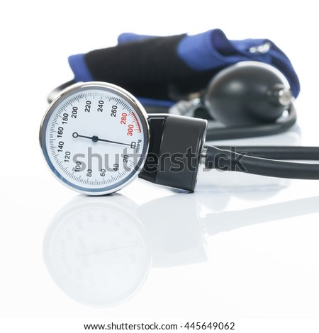 Close up studio shot of a blood pressure measuring medical equipment on white - a tonometer - stock photo