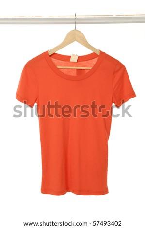 Close up summer t-shirts hanger - stock photo
