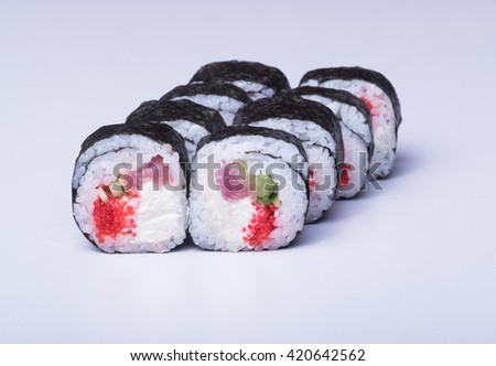 Close up sushi, isolated shot  - stock photo