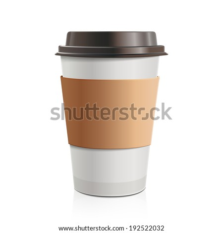 Close up take-out coffee with brown cap and cup holder. Isolated on white background. Raster copy.