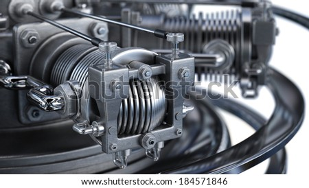 close-up Technology background. Radial engine aircraft. High resolution 3d render