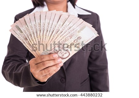 Close up Thai businesswoman holding money isolated on white background