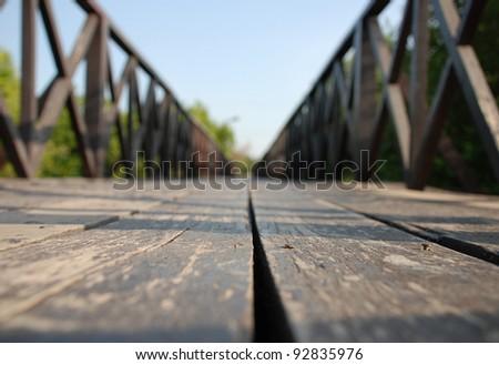 Close-up the floor of wood bridge background - stock photo