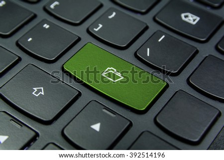 Close-up the Folder symbol on the keyboard button and have Pea color button isolate black keyboard
