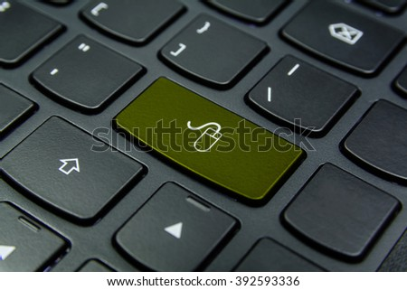 Close-up the Mouse symbol on the keyboard button and have Olive color button isolate black keyboard