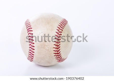 close up the old baseball in studio - stock photo