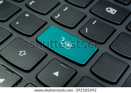 Close-up the Webcam symbol on the keyboard button and have Cyan color button isolate black keyboard