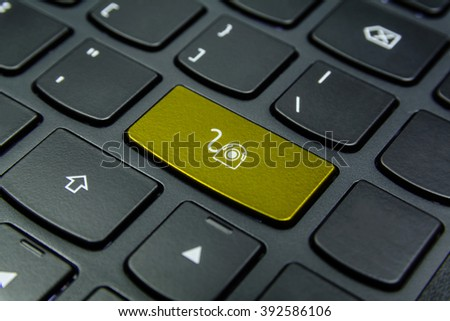 Close-up the Webcam symbol on the keyboard button and have Golden color button isolate black keyboard