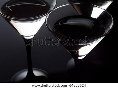 Close up three martini glass - stock photo