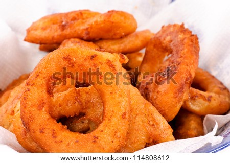 Close up to fried calamari rings