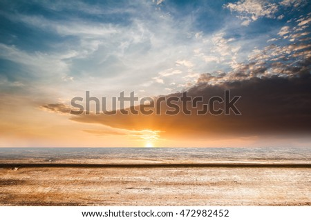 Close up top wooden table with sunny abstract  nature background