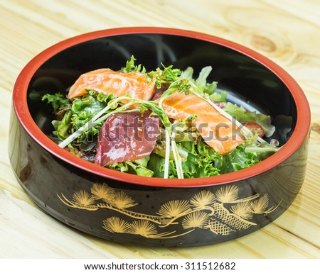 Close up traditional japanese food on wooden table