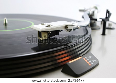 Close up turntable - stock photo