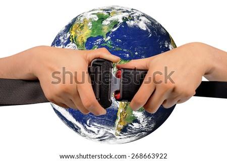 close up two hand use safety belt safe world on white background - stock photo