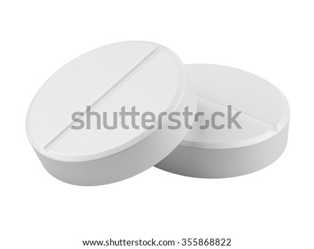 Close up two medical pills - tablets 3d illustration isolated on the white background - stock photo
