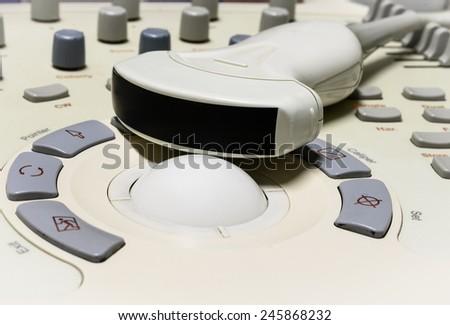 Close up ultrasound machine detail, ultrasound machine - stock photo