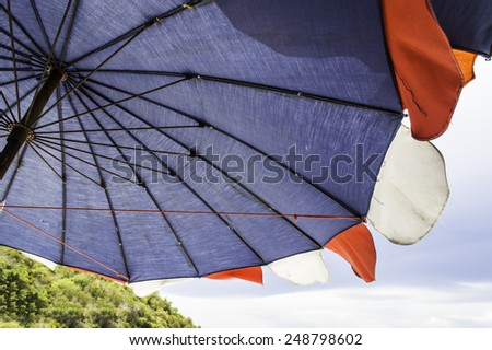 Close up umbrella koh larn island tropical beach in pattaya city Thailand - stock photo