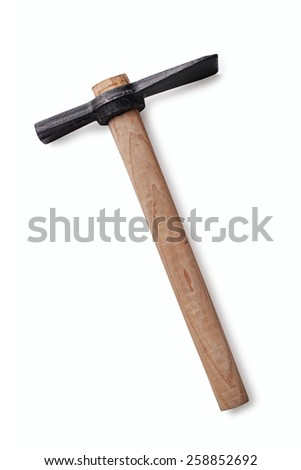 Close up Unused Garden Hoe with Wooden Handle for Digging Isolated on White Background