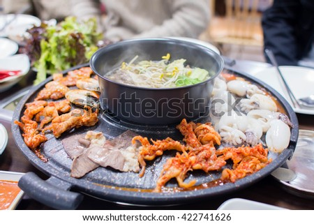 Close up used Pan for grilled any meat  Korean barbecue. select focus - stock photo