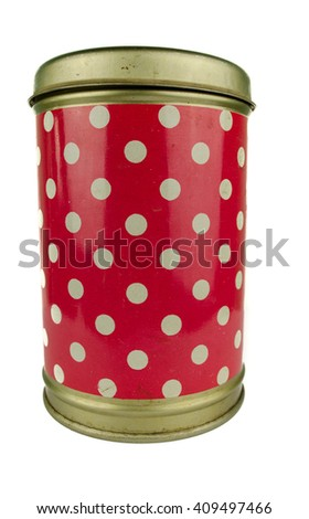 Close-up various metal and white tin can on white background separated shot. Include clipping path in both object / Metal round box on a white  background red color with white dotes - stock photo