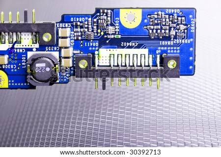 Close-up veew of the abstract microcircuit. - stock photo