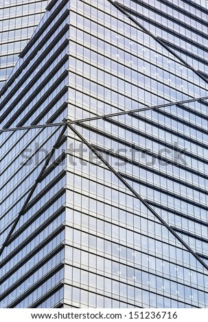 Close up vertical shot of a office building. - stock photo