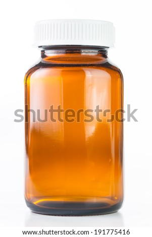 Close up Vial of pills medical container with white background - stock photo