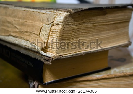 Close up view - binding of old books - stock photo