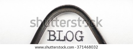 Close up view - Blog - written on an old typewriter - stock photo
