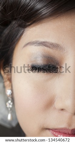 Close-up view of a Asian girl's eye makeup. - stock photo