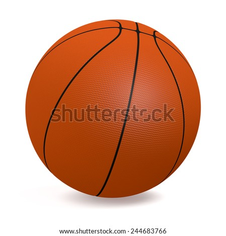 close-up view of a basketball ball on white background (3d render) - stock photo