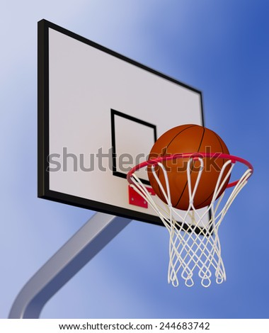 close-up view of a basketball hoop and a ball falling through the hoop, with a blue sky on background (3d render) - stock photo