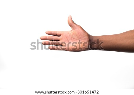 Close up view of a black / african mans hand from below - stock photo