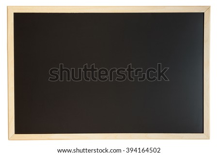 Close up view of a black chalkboard with softwood frame. Chalk on the blackboard has been cleaned/rubbed out. Primitive teaching style. Background texture and empty space for further creative design. - stock photo