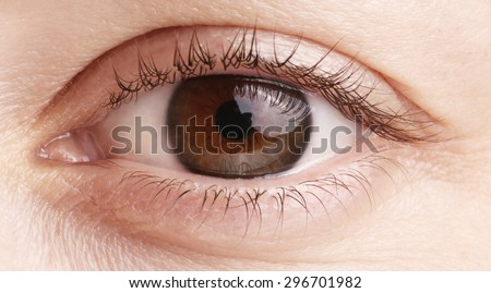 Close up view of a brown woman eye - no make up on - stock photo